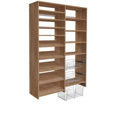 72 in. H x 50 in. W Nutmeg Garage Baskets and Shelving Storage Kit