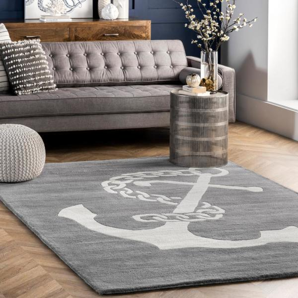 Nuloom Nautical Anchor Gray 8 Ft X 10 Ft Indoor Area Rug Mtvs41d 8010 The Home Depot