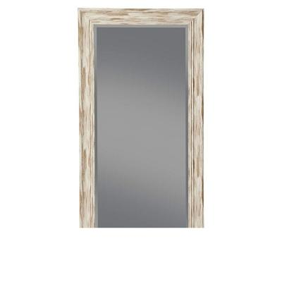 Farmhouse Style Antique White Rectangular Full Length Leaner Mirror with Polystyrene Frame 65 in. L x 2 in. W x 31 in. H