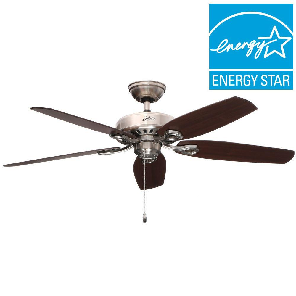 Builder Elite 52 in. Indoor Brushed Nickel Ceiling Fan