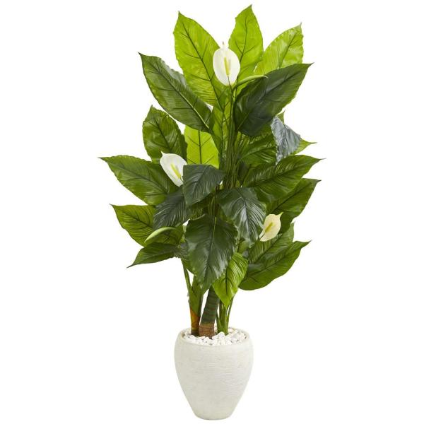 Nearly Natural Indoor 5 Spathiphyllum Artificial Plant in White Planter 9441