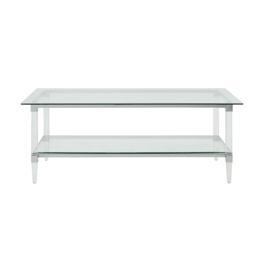 Acme Furniture Polyanthus Clear Acrylic, Chrome And Clear Glass Coffee Table