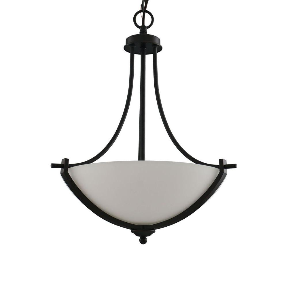 Hampton Bay 3-Light Bronze Pendant with White Frosted Glass Shade