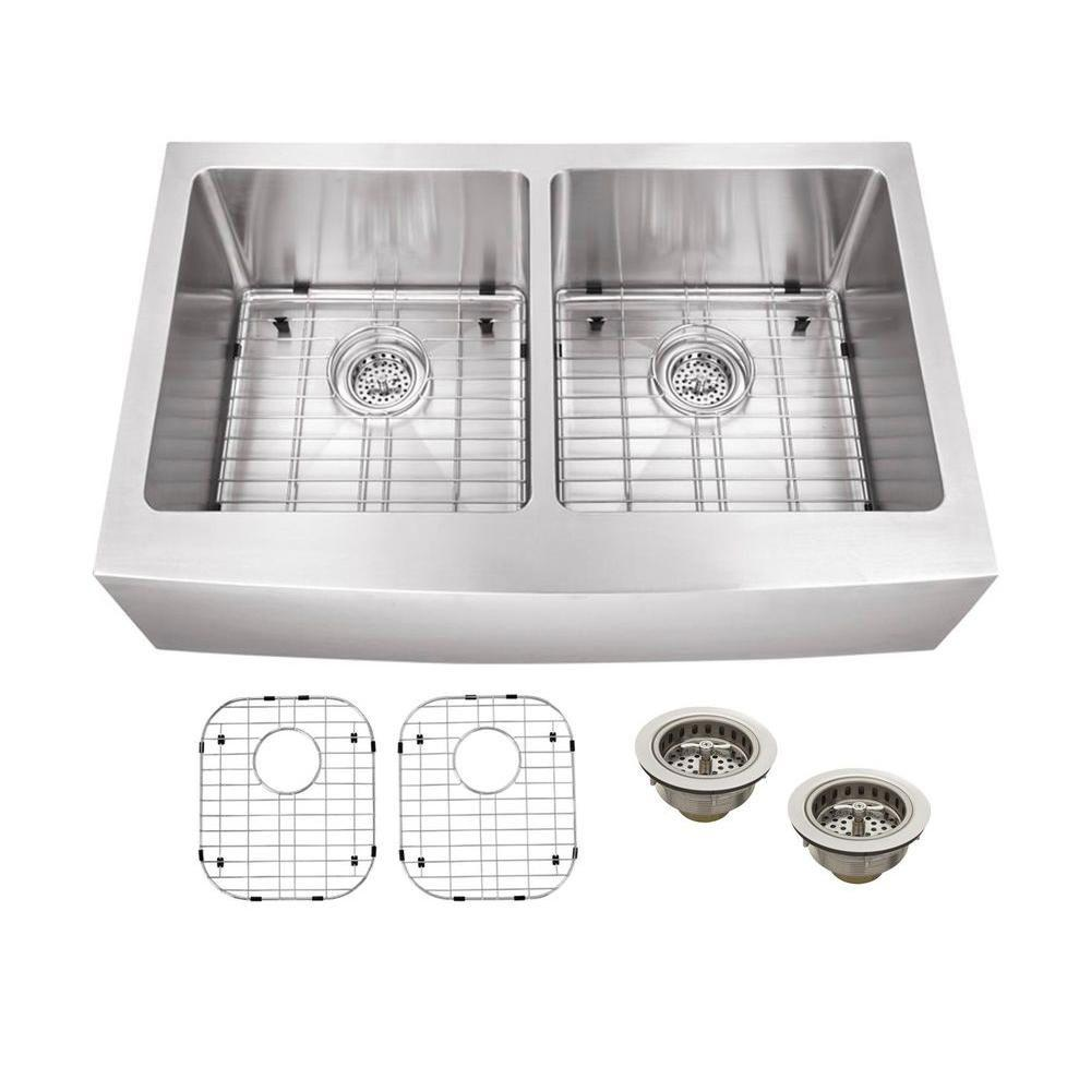 Schon All-in-One Apron Front Stainless steel 33 in. Double Bowl ...