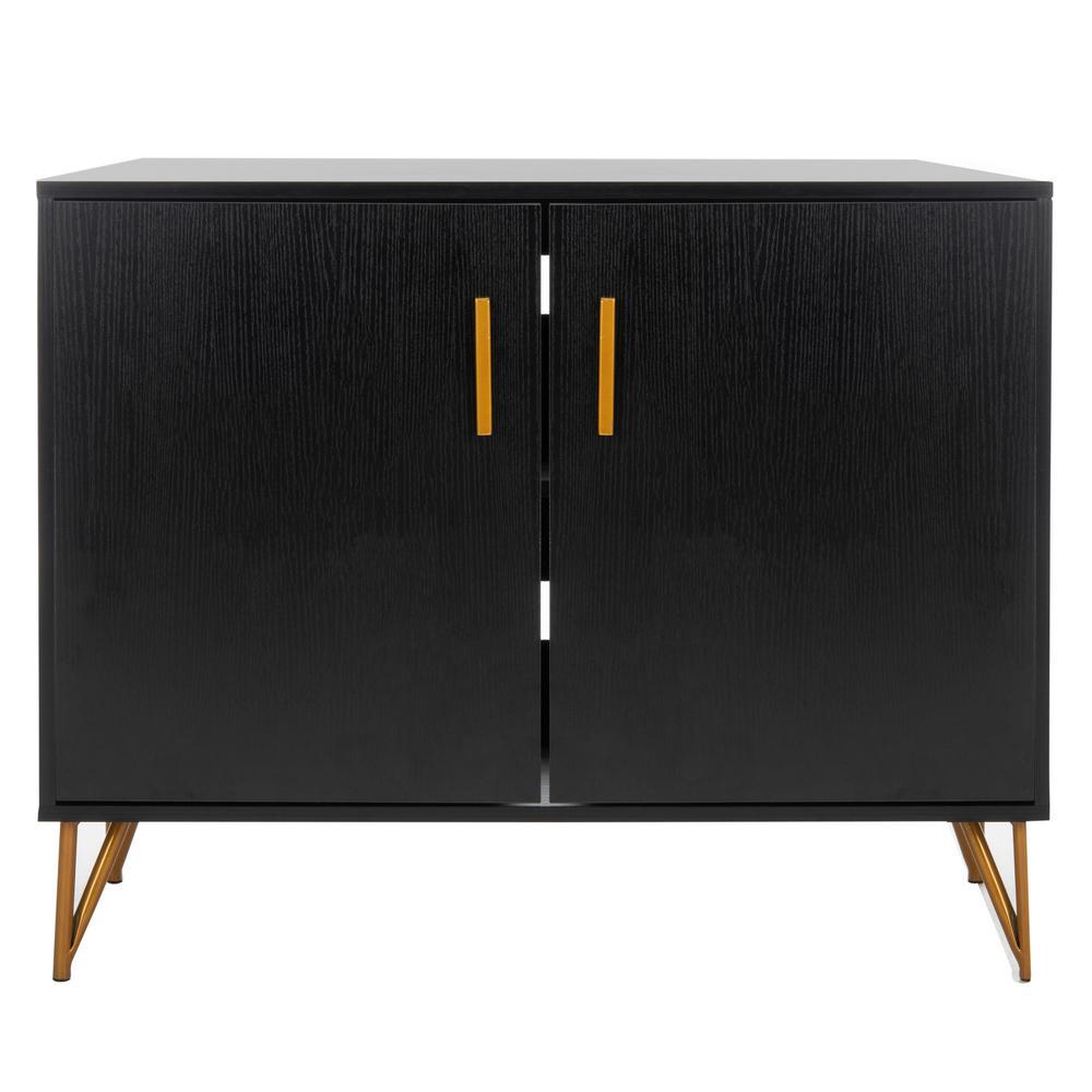 Pine Black/Gold 2-Door TV Stand