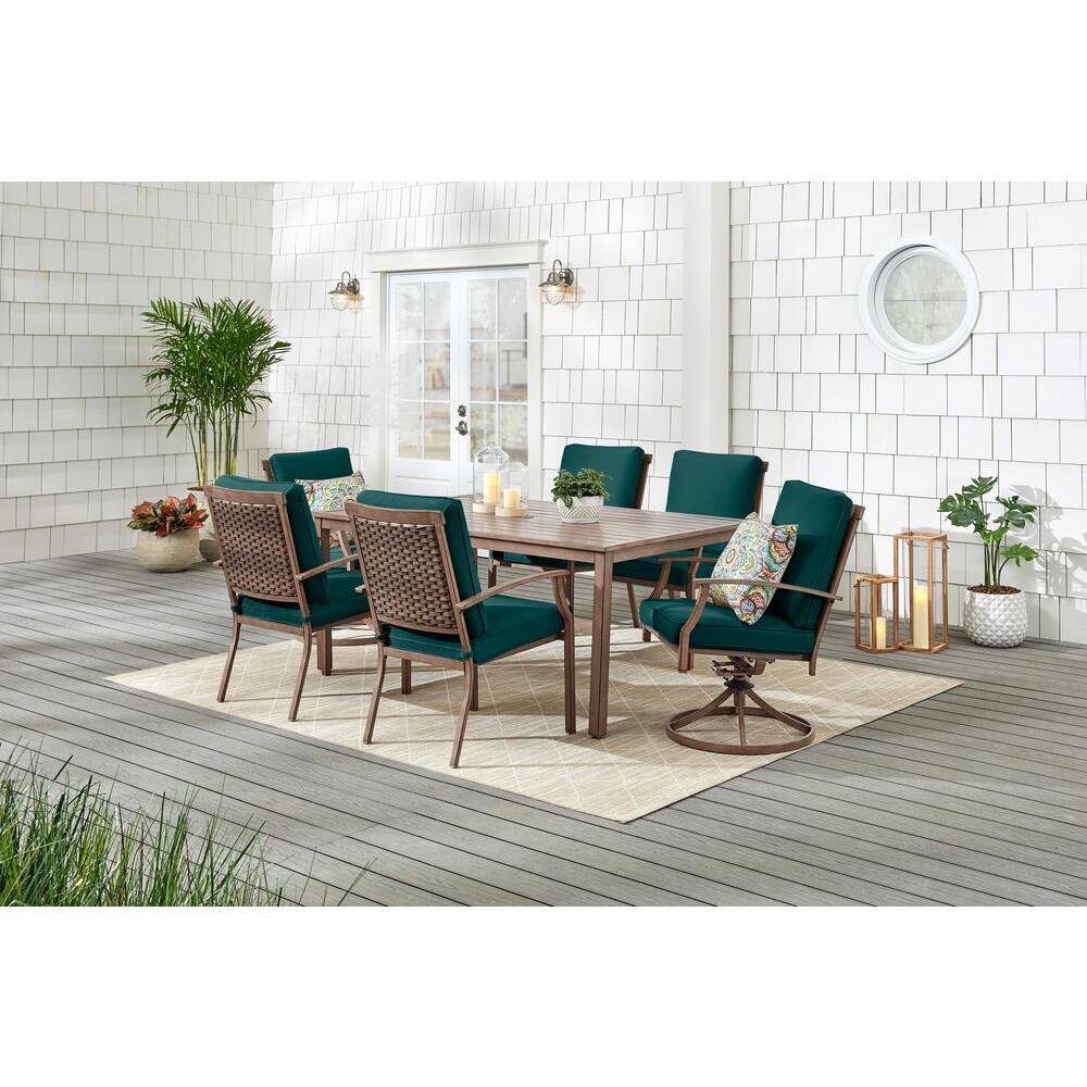 Geneva 7-Piece Brown Wicker Outdoor Patio Dining Set with CushionGuard Malachite Green Cushions