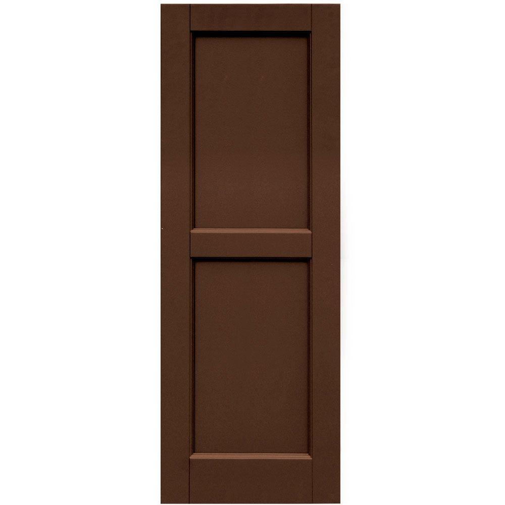 Winworks Wood Composite 15 in. x 42 in. Contemporary Flat Panel Shutters Pair #635 Federal Brown