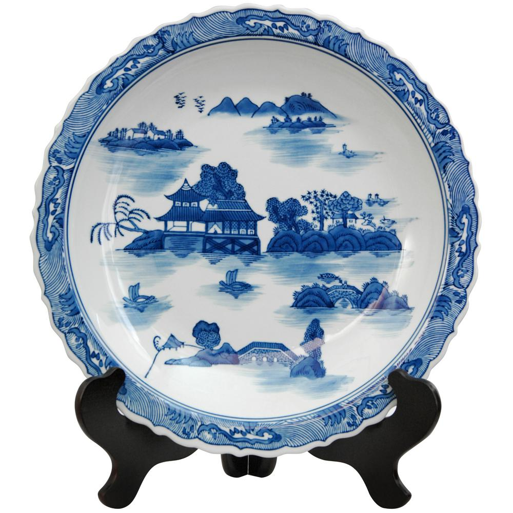 Porcelain Decorative Plate in Blue  sc 1 st  Home Depot & Oriental Furniture 14 in. Porcelain Decorative Plate in Blue-BW ...