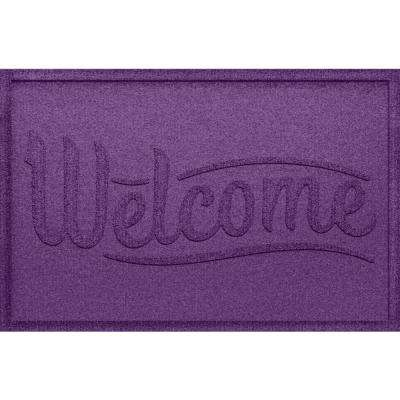 Simple Welcome Purple 24x36 Polypropylene Door Mat
