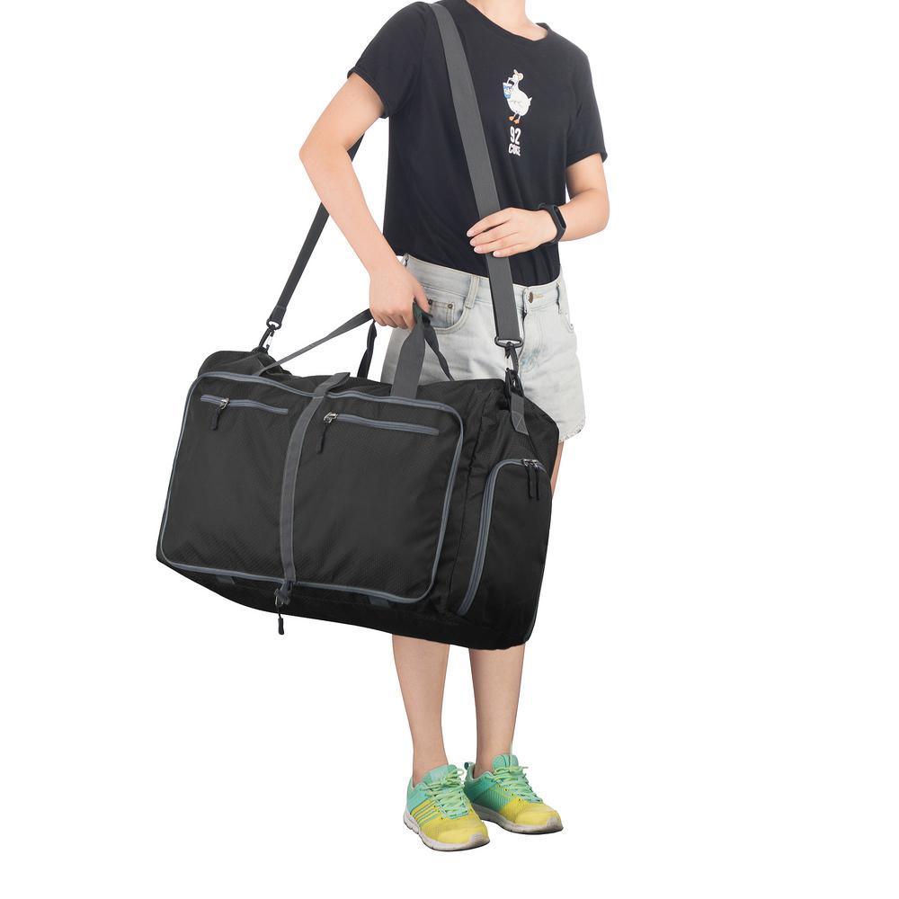 7a51e9acee76 Wakeman 14.5 in. Black Folding Overnight Duffel Bag-HW9990000 - The ...