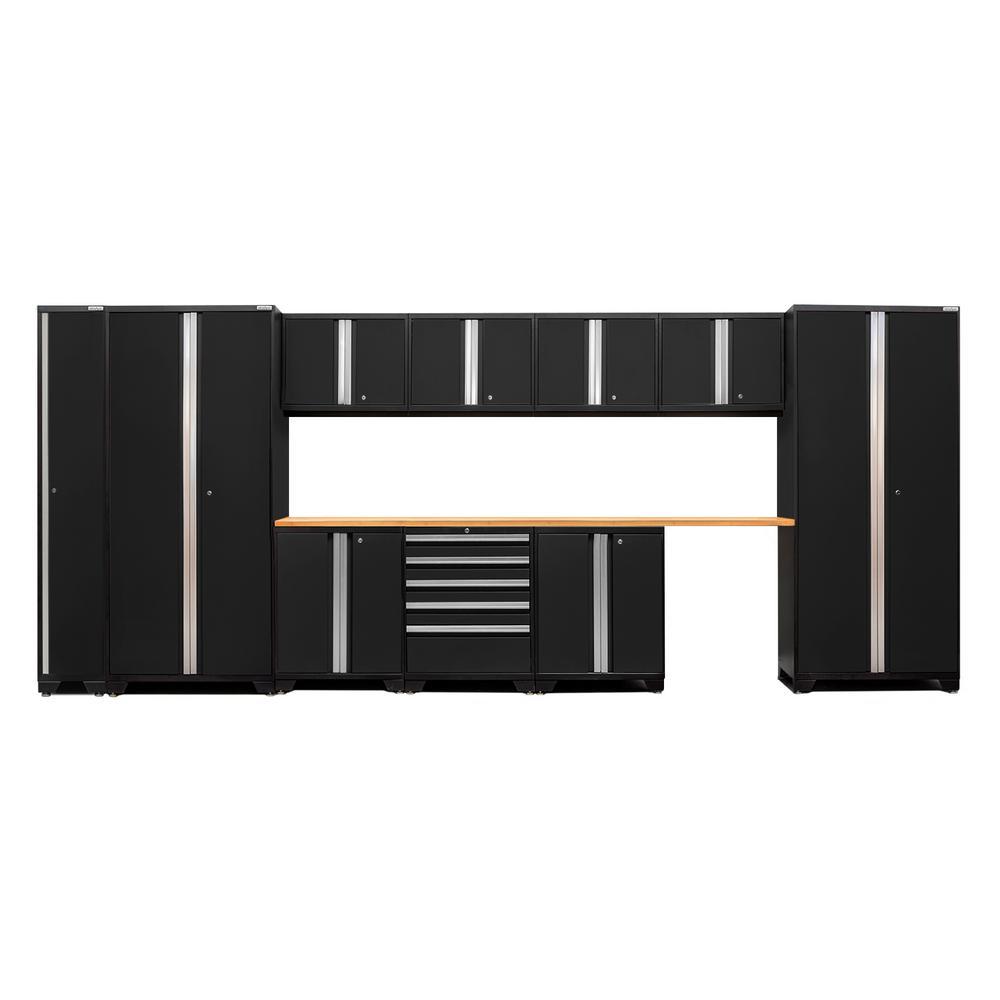 Pro 3.0 85 in. H x 184 in. W x 24 in. D 18-Gauge Welded Steel Garage Storage Cabinet Set in Black (12-Piece)