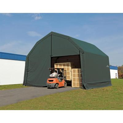 30 ft. W x 40 ft. D x 18 ft. H Galvanized Steel and PVC Garage Without Floor in Green with Heavy-Duty Green Cover