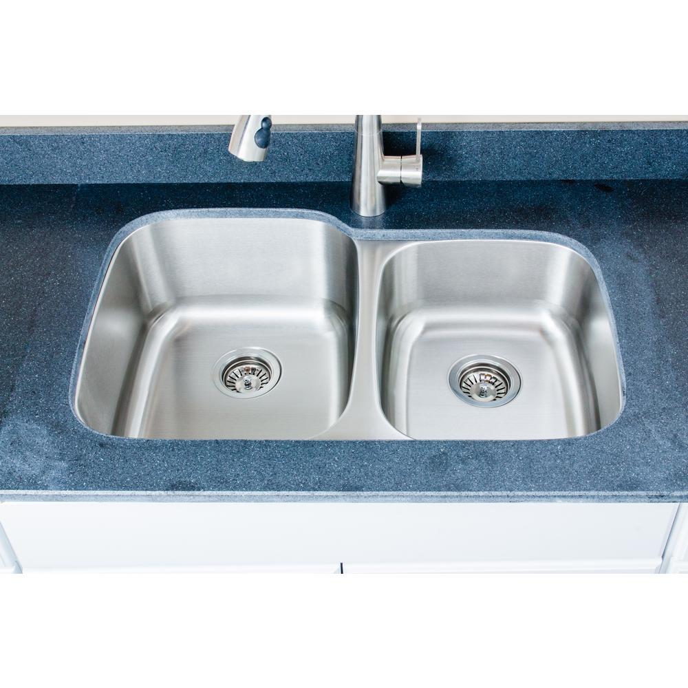 Wells The Craftsmen Series Undermount 32 in. Stainless Steel 60/40 Double Bowl Kitchen Sink