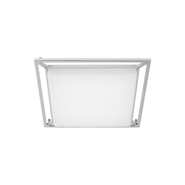 Perret 14 in. W 20-Watt Polished Chrome Dimmable Integrated LED Flush Mount Square Ceiling Light Fixture