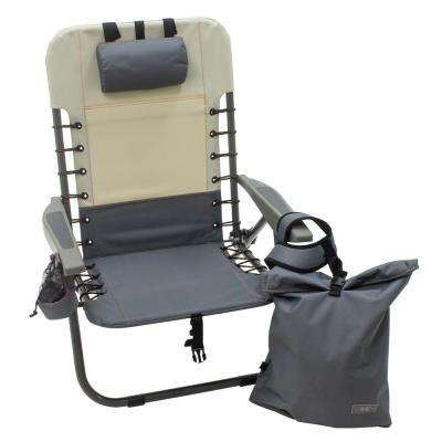 Slate/Putty Lace-Up Backpack Camping and Outdoor Chair with Removeable Backpack with Powdercoated Steel Frame