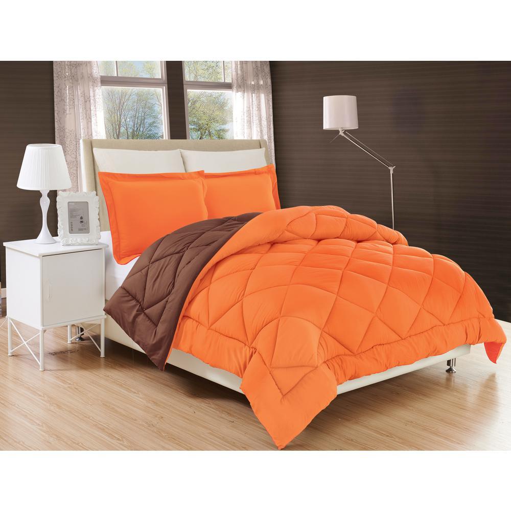 Down Alternative Orange and Chocolate Reversible King Comforter Set
