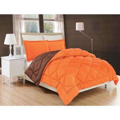 Down Alternative Orange and Chocolate Reversible Full/Queen Comforter Set