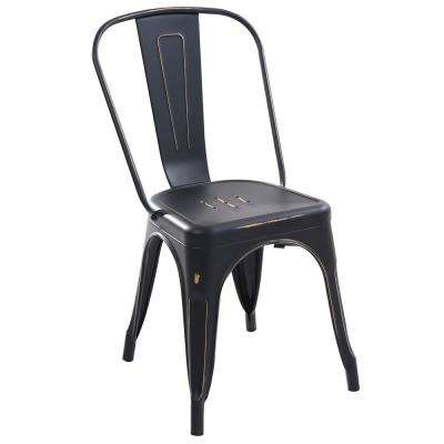Trattoria Distredded Black Side Chair (Set of 2)