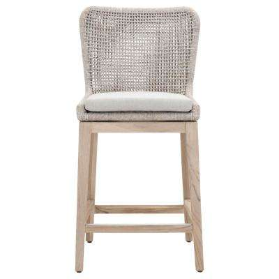 Mesh 26 in. Taupe and White Flat Rope, Gray Teak Outdoor Counter Stool