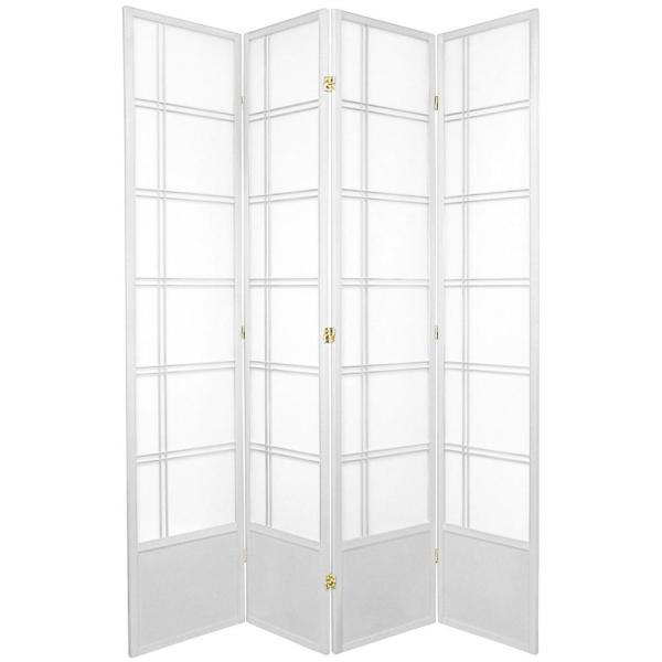 7 ft. White 4-Panel Room Divider