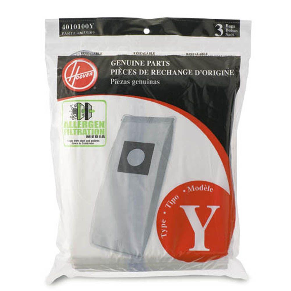 Hoover Type Y Allergen Filtration Bags 3 Pack 4010100Y