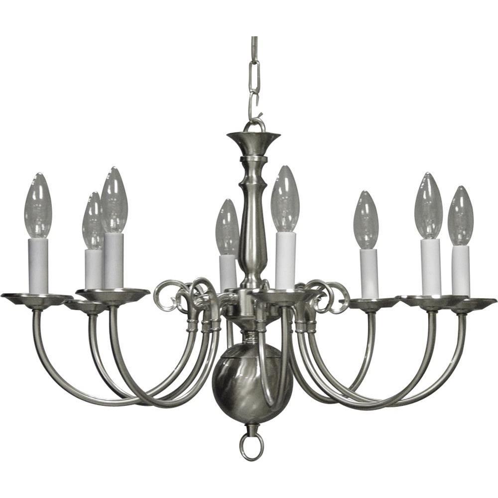 Volume Lighting 8-Light Brushed Nickel Interior Chandelier