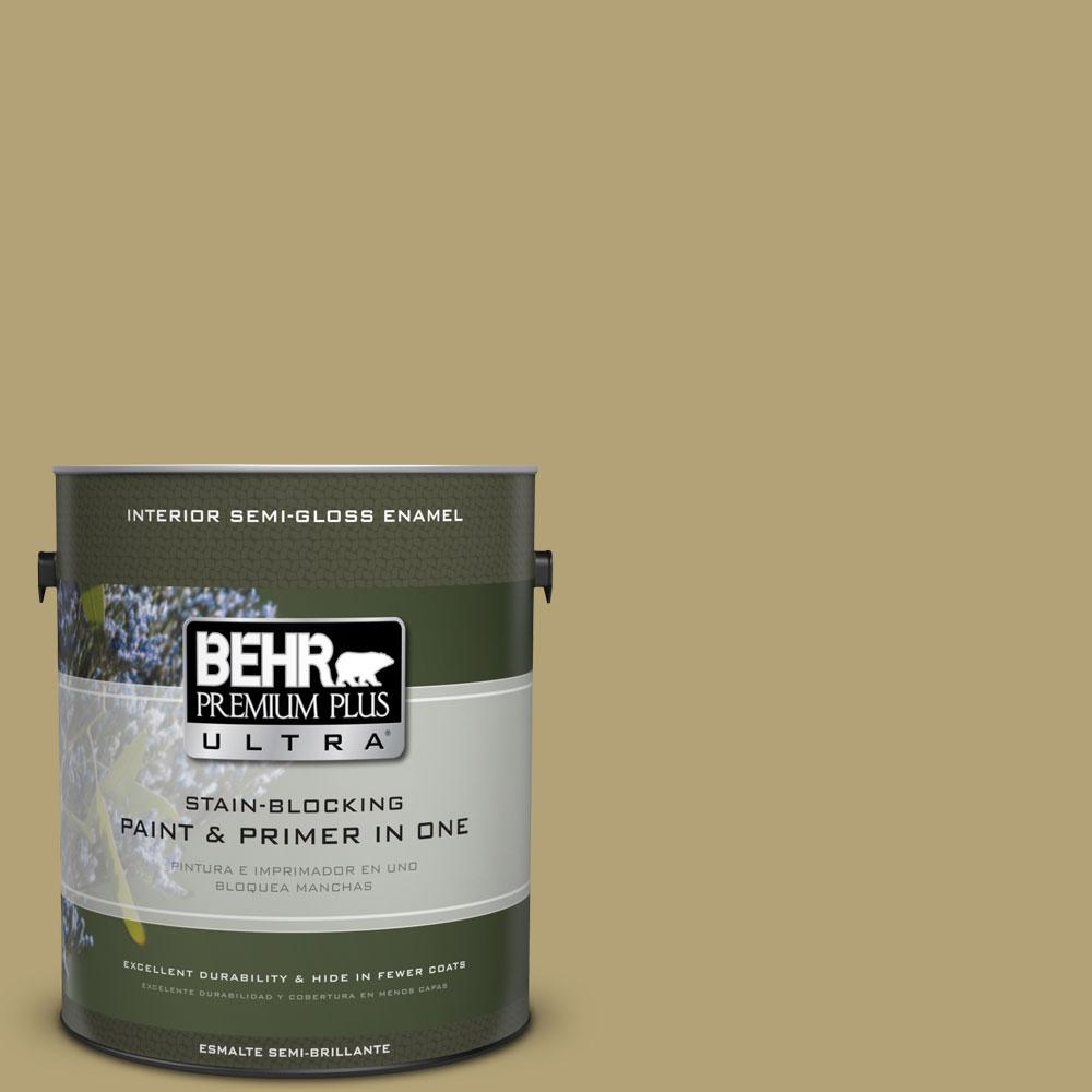 1-gal. #PMD-101 Green Fig Semi-Gloss Enamel Interior Paint