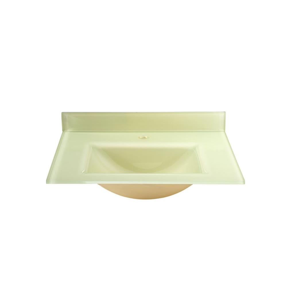 RYVYR 37 in. Glass Vanity Top in European Yellow with European Yellow Integral Basin