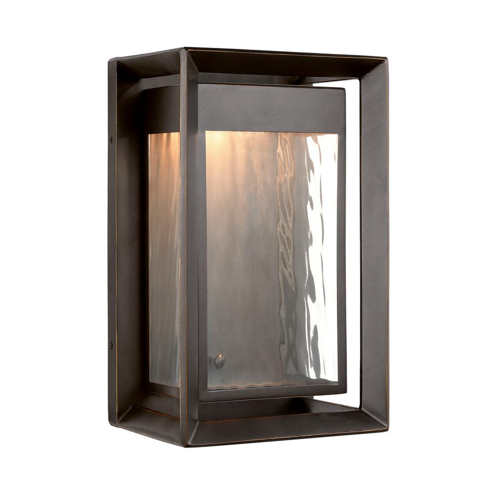 Feiss Urbandale 1-Light Antique Bronze Outdoor 13 in. Integrated LED Wall Lantern Sconce