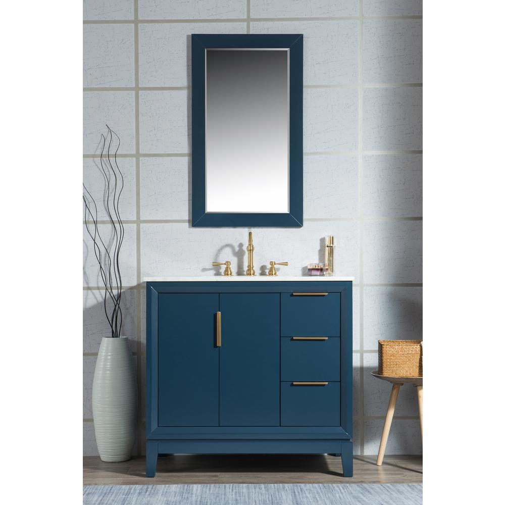 Water Creation 36 in. Single Sink Bath Vanity in  Carrara White Marble Vanity Top in Monarch Blue w/ Mirror and Lavatory Faucet