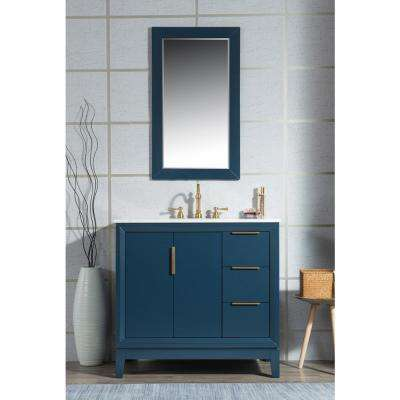 36 in. Single Sink Bath Vanity in  Carrara White Marble Vanity Top in Monarch Blue w/ Mirror and Lavatory Faucet