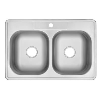 Drop-In Stainless Steel 33 in. 1-Hole 50/50 Double Bowl Kitchen Sink
