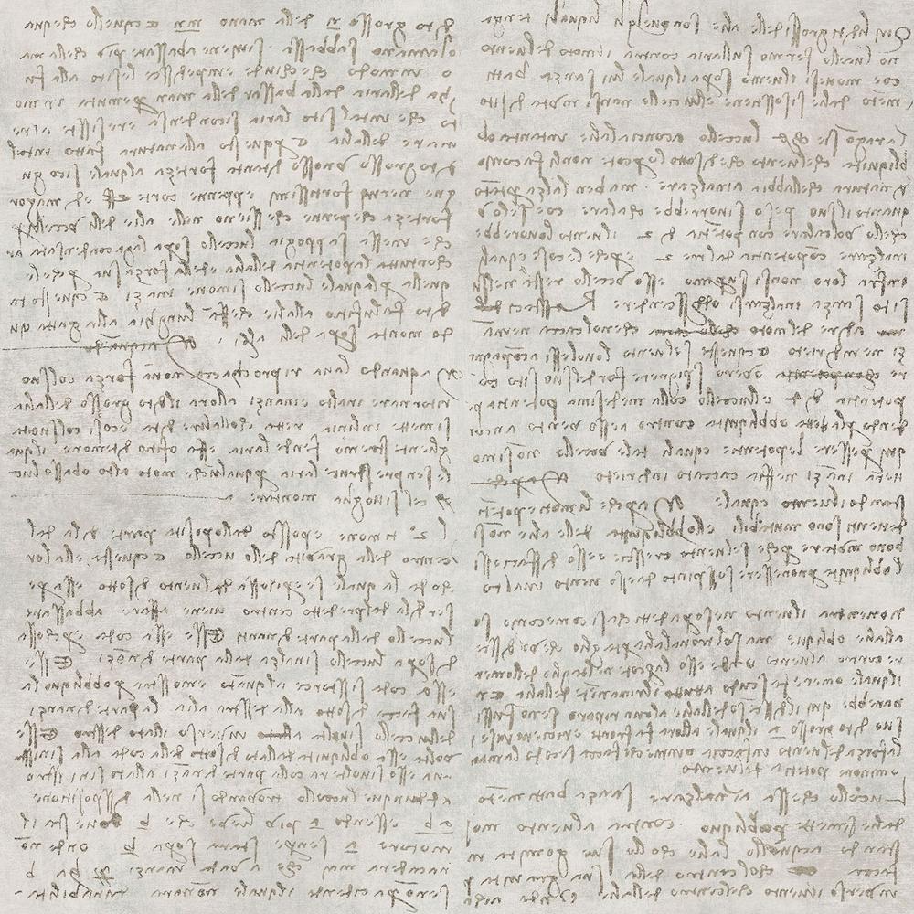 Manoscritto Taupe Script Wallpaper Sample