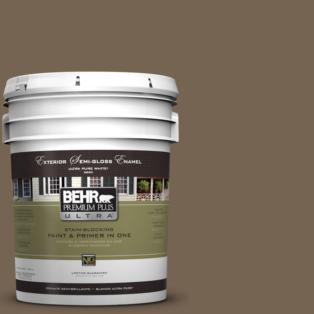 5-gal. #HDC-SM14-4 Tan Bark Trail Semi-Gloss Enamel Exterior Paint