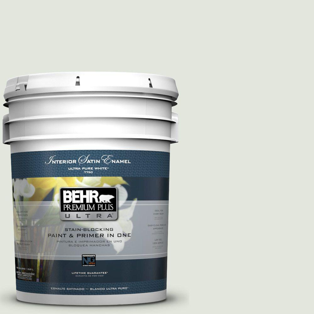 5-gal. #BL-W6 Whispering Waterfall Satin Enamel Interior Paint