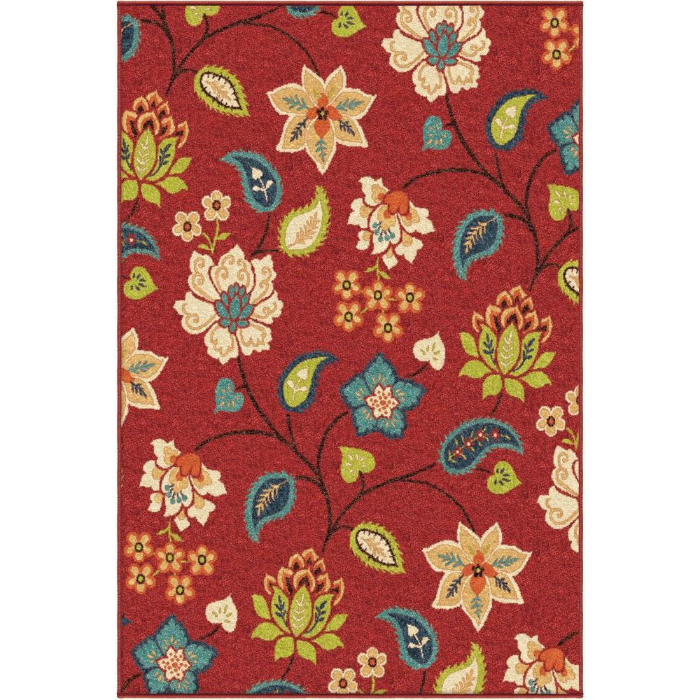 null Floral Ballat Red 5 ft. 2 in. x 7 ft. 6 in. Indoor Area Rug