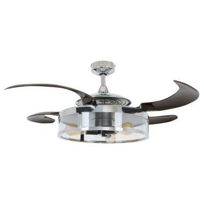 Classic Chrome and Espresso Retractable 4-Blade 48 in. 3-Light Ceiling Fan