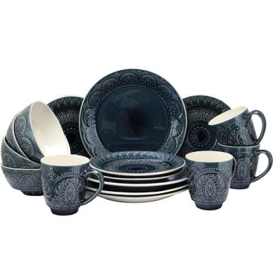 Petra 16-Piece Bohemian Blue Stone Dinnerware Set (Service for 4)