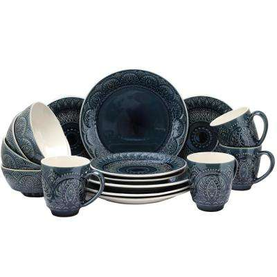 Petra 16-Piece Blue Dinnerware Set