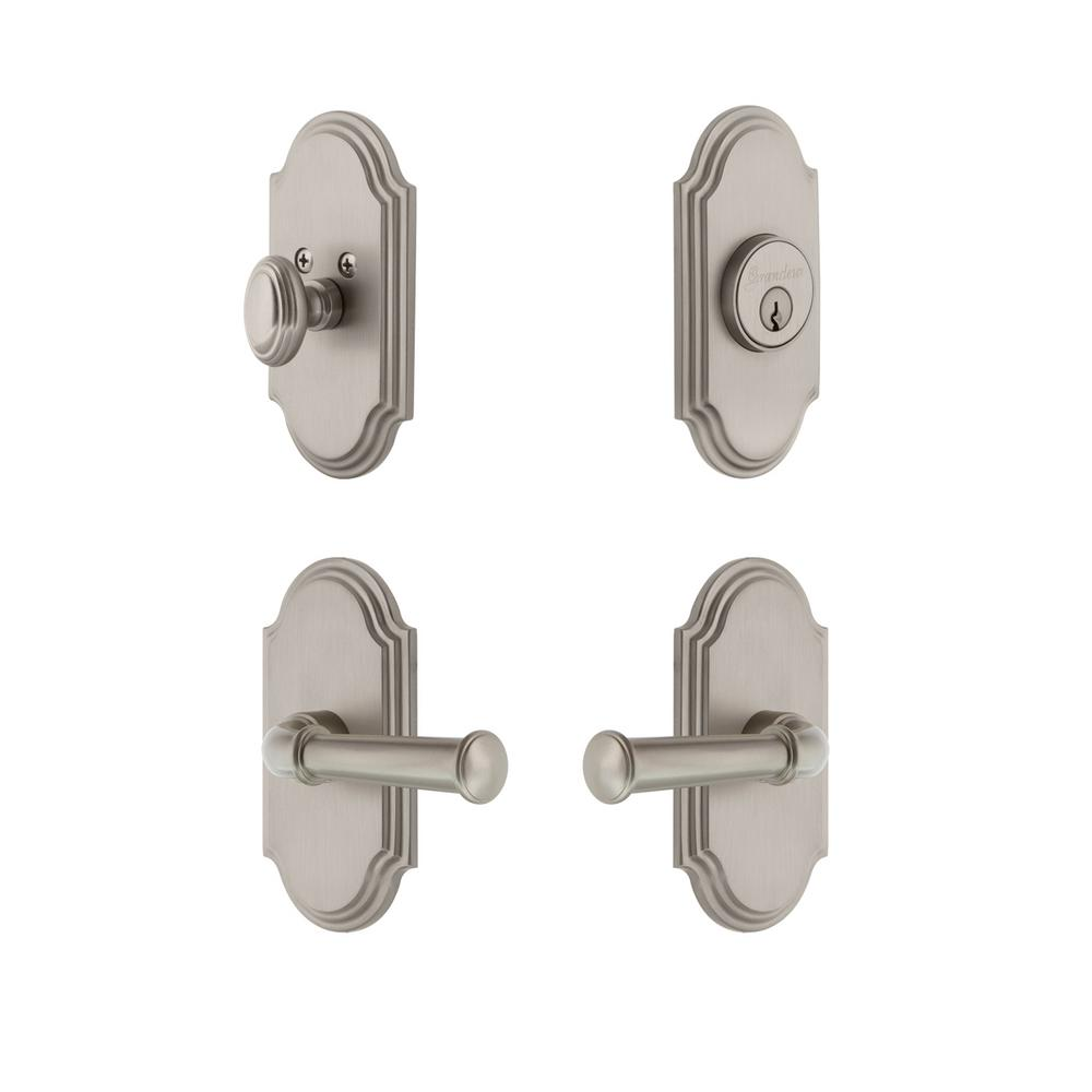 Arc Plate 2-3/8 in. Backset Satin Nickel Georgetown Door Lever with
