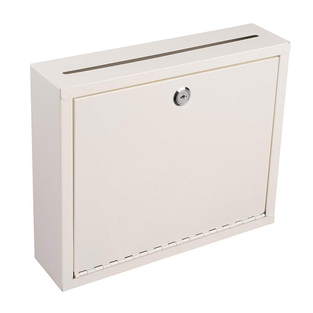 """AdirOffice Steel Wall Mountable Steel Drop Box 12/"""" W x 3/"""" D x 10/"""" H"""