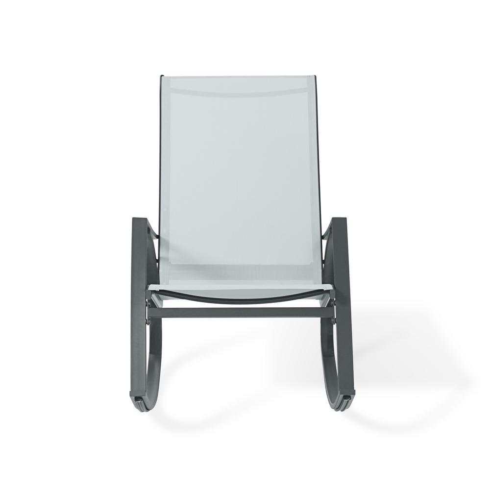 Dark Grey Metal Plastic Outdoor Rocking Chair