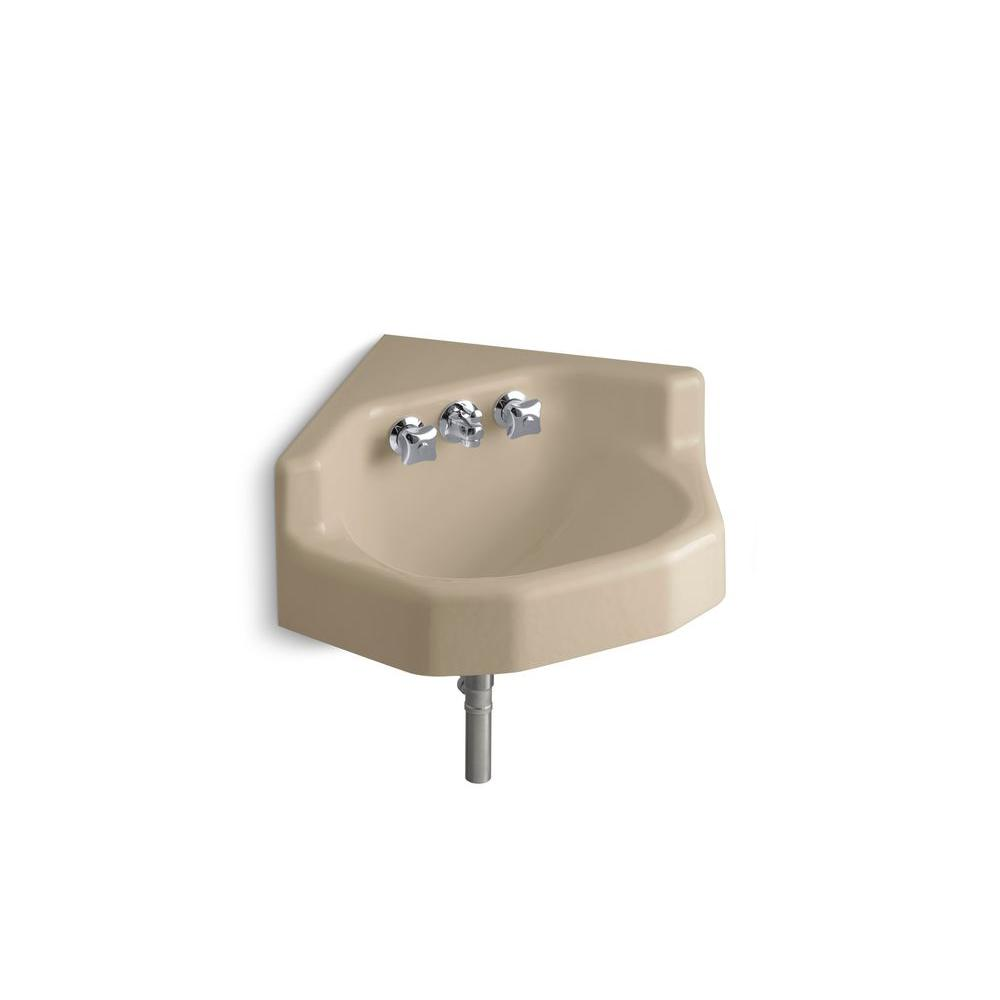KOHLER Marston Wall-Mount Corner Bathroom Sink in Mexican Sand-DISCONTINUED
