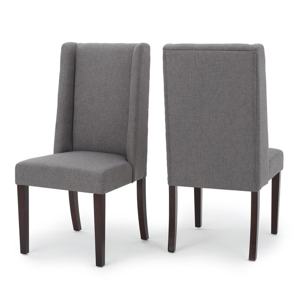 Braelynn Dark Grey Fabric Wing Back Dining Chair (Set of 2)