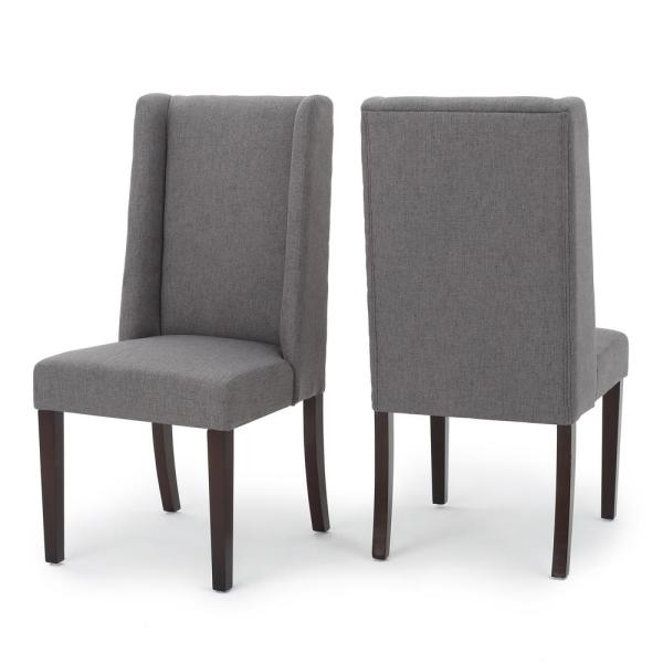 082252884faa Braelynn Dark Grey Fabric Wing Back Dining Chair (Set of 2). by Noble House