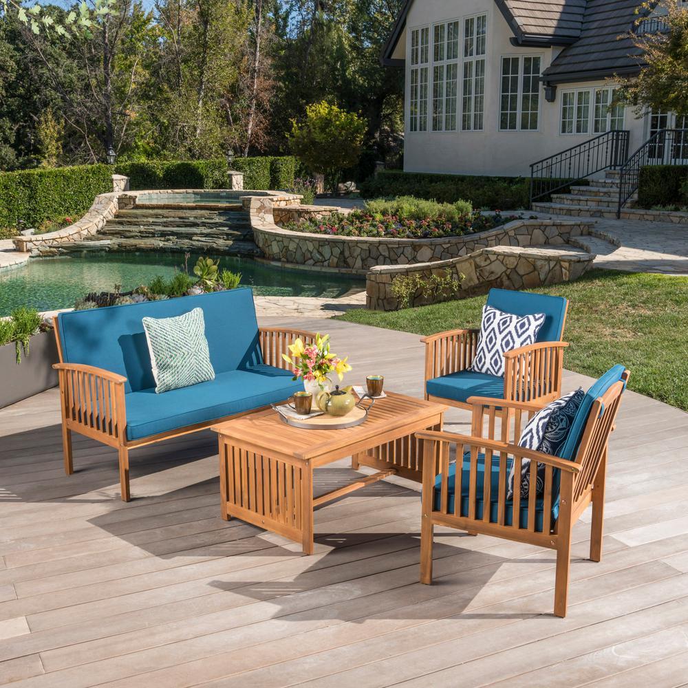 4-Piece Wood Patio Conversation Set with Dark Teal Cushions