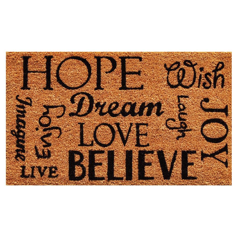 Hope Dream Believe Door Mat 17 in. x 29 in.
