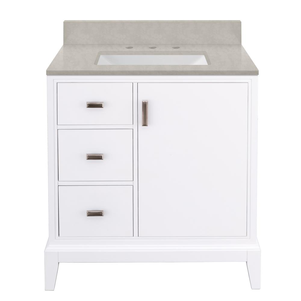 Home Decorators Collection Shaelyn 31 in. W x 22 in. D Bath Vanity in White LH with Engineered Marble Vanity Top in Dunescape with White Sink