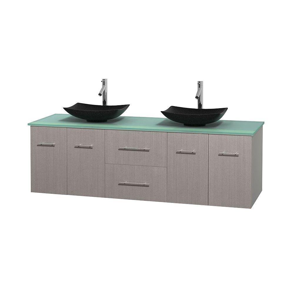 Centra 72 in. Double Vanity in Gray Oak with Glass Vanity Top in Green and Black Granite Sinks