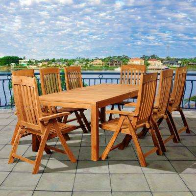 Sexton 9-Piece Teak Rectangular Patio Dining Set